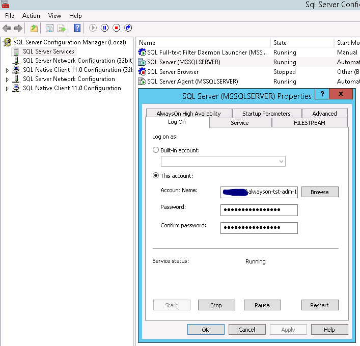 Changing service account for MS SQL Server 2012