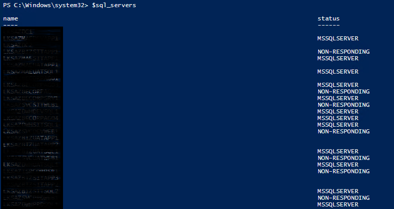 Find servers with MS SQL Server installed with Powershell