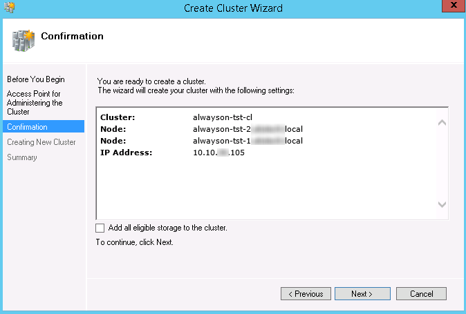 Installing the Failover Cluster for SQL 2012 AlwaysOn